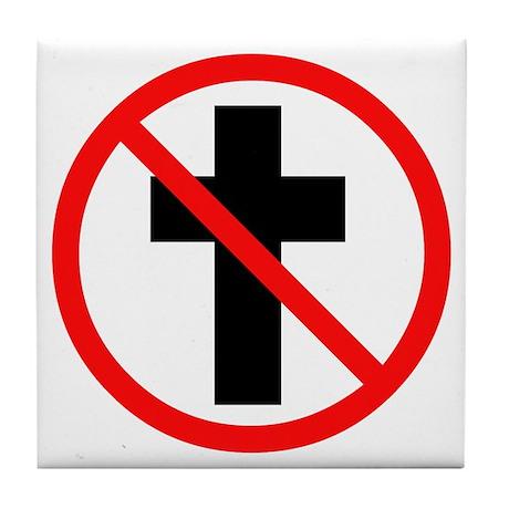 No Christianity Tile Coaster