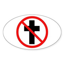 No Christianity Oval Decal