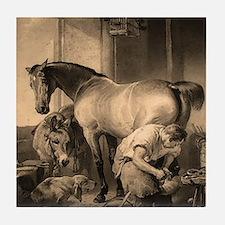 Farrier Shoeing A Horse Tile Coaster
