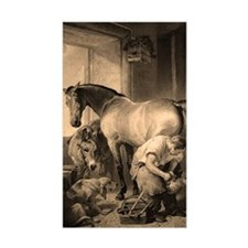 Farrier Shoeing A Horse Rectangle Decal
