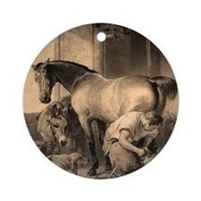 Farrier Shoeing A Horse Ornament (Round)