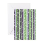 Vintage Purple and Green Greeting Cards (Pk of 10)
