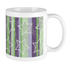 Vintage Purple and Green Ceramic Coffee Mug