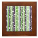 Vintage Purple and Green Framed Tile