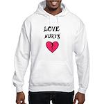 LOVE HURTS BROKEN PINK HEART Hooded Sweatshirt