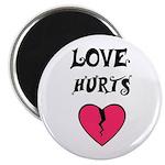 LOVE HURTS BROKEN PINK HEART Magnet