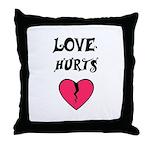 LOVE HURTS BROKEN PINK HEART Throw Pillow