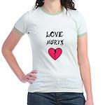 LOVE HURTS BROKEN PINK HEART Jr. Ringer T-Shirt
