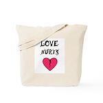LOVE HURTS BROKEN PINK HEART Tote Bag