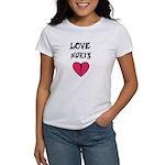 LOVE HURTS BROKEN PINK HEART Women's T-Shirt