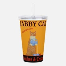 Tabby Cat Peaches and Acrylic Double-wall Tumbler