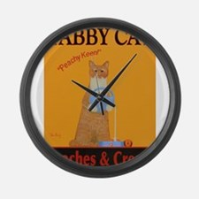 Tabby Cat Peaches and Cream Large Wall Clock