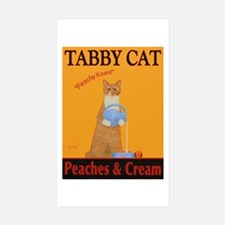 Tabby Cat Peaches and Cr Sticker (Rectangle 10 pk)