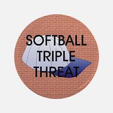 "TOP Softball Triple Threat 3.5"" Button"