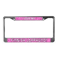Pink Polka Dt Finnish Lapphund License Plate Frame