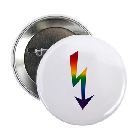 Rainbow Gay Lightning Bolt Button