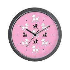 Prancing Poodles Wall Clock