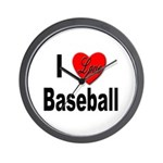 I Love Baseball for Baseball Fans Wall Clock