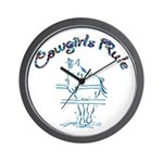 Cowgirl's Rule Wall Clock