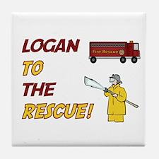 Logan to the Rescue!  Tile Coaster