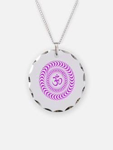 Purple Om Road Sign Sacred S Necklace