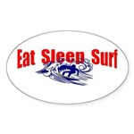 Eat Sleep Surf Oval Sticker