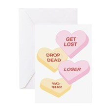 Mean Candy Hearts Greeting Card