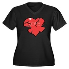 Broken Heart Women's Plus Size V-Neck Dark T-Shirt