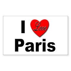 I Love Paris Rectangle Decal