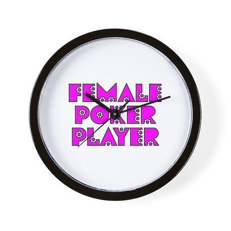 Female Poker Player Wall Clock