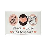Peace Love Shakespeare Rectangle Magnet