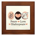 Peace Love Shakespeare Framed Tile