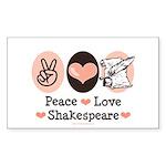 Peace Love Shakespeare Rectangle Sticker