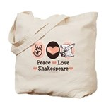 Peace Love Shakespeare Tote Bag