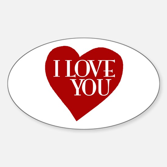 I Love You Valentine's Day Oval Decal