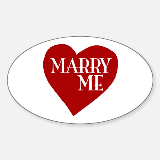 Marry Me Valentine's Day Oval Decal