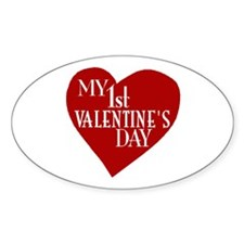 My 1st Valentine's Day Oval Decal