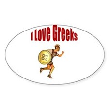 I Love Greeks Oval Decal