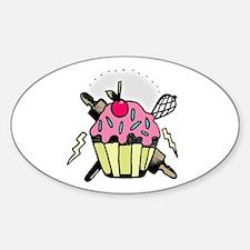 Cupcake & Lightening Oval Decal
