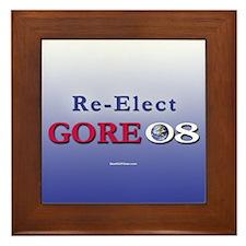 """Re-Elect Gore '08"" Framed Tile"