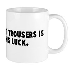 Man with tight trousers is pr Mug