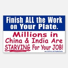 Anti JOB OUTSOURCING Rectangle Decal