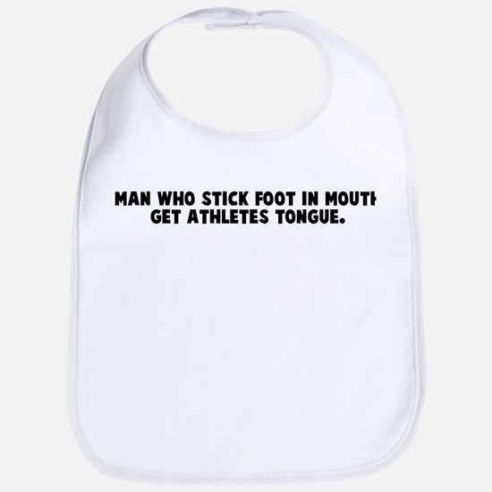 Man who stick foot in mouth g Bib