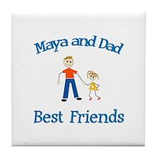 Maya & Dad - Best Friends Tile Coaster