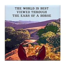 Through the ears of a horse. Tile Coaster