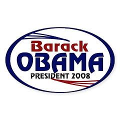 Barack Obama 2008 (oval bumper sticker)