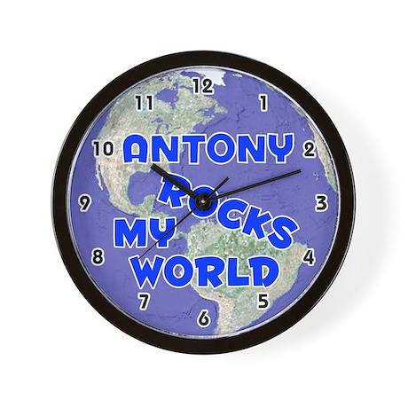 Antony Rocks My World (Blue) Wall Clock