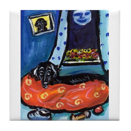 Flattie senses smiling moon Tile Coaster