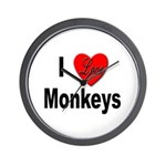 I Love Monkeys for Monkey Lovers Wall Clock