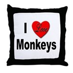 I Love Monkeys for Monkey Lovers Throw Pillow